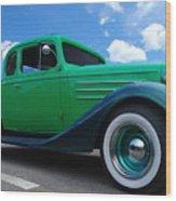 Vintage Green Roadster Wood Print
