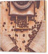 Vintage Grinder With Sacks Of Coffee Beans Wood Print