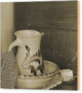 Vintage Grooming Set And Stoneware Water Pitcher In Sepia Tones Wood Print