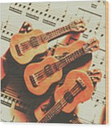 Vintage Guitars On Music Sheet Wood Print