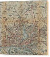 Vintage Hamburg Railway Map - 1910 Wood Print