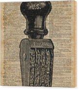 Vintage Handstamp Illustation Over Old Book Page Wood Print