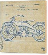 Vintage Harley-davidson Motorcycle 1924 Patent Artwork Wood Print