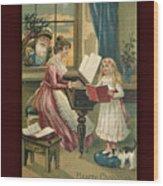 Vintage Hearty Christmas Postcard Wood Print