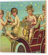 Vintage Holiday Postcard Wood Print