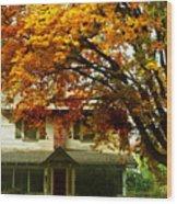 Vintage Home In Autumn Wood Print