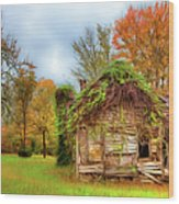 Vintage House Surrounded By Autumn Beauty Ap Wood Print