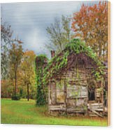 Vintage House Surrounded By Autumn Beauty Wood Print