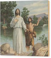 Vintage Illustration Of The Baptism Of Christ Wood Print