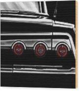 Vintage Impala Black And White Wood Print