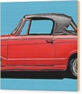 Vintage Italian Automobile Red Tee Wood Print