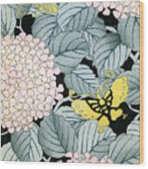 Vintage Japanese Illustration Of A Hydrangea Blossoms And Butterflies Wood Print