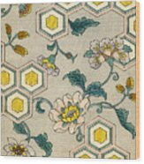 Vintage Japanese Illustration Of Blossoms On A Honeycomb Background Wood Print