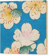 Vintage Japanese Illustration Of Dogwood Blossoms Wood Print