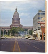Vintage July 1968 View Looking Up Congress Avenue To The Texas State Capitol Wood Print