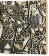 Vintage Keys On Wooden Table Wood Print