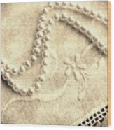 Vintage Lace And Pearls Wood Print