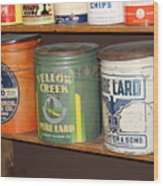 Vintage Lard Can Wood Print