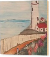 Vintage Lighthouse Wood Print
