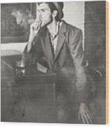 Vintage Man In Hat Smoking Cigarette In Jazz Club Wood Print