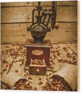 Vintage Manual Grinder And Coffee Beans Wood Print