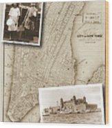 Vintage Map Ellis Island Immigrants Wood Print