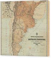 Vintage Map Of Argentina - 1882 Wood Print