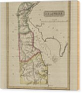 Antique Map Of Delaware Wood Print