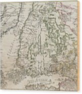 Vintage Map Of Finland - 1740s Wood Print