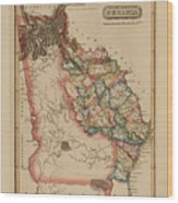 Antique Map Of Georgia Wood Print