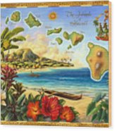Vintage Map Of Hawaii Wood Print