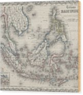 Vintage Map Of Indonesia And The Philippines Wood Print
