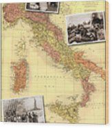 Vintage Map Of Italy Genealogy Map Wood Print