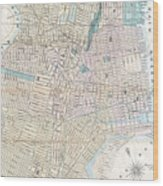 Vintage Map Of Jersey City And Hoboken  Wood Print