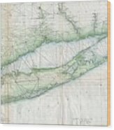 Vintage Map Of Long Island Ny Wood Print