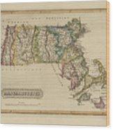 Antique Map Of Massachusetts Wood Print