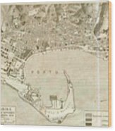 Vintage Map Of Messina Italy - 1900 Wood Print