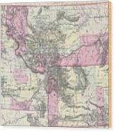 Vintage Map Of Montana, Wyoming And Idaho  Wood Print