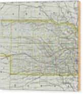 Vintage Map Of Nebraska - 1889 Wood Print