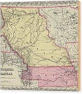 Vintage Map Of Nebraska And Kansas - 1856 Wood Print
