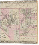 Vintage Map Of Nevada And Utah - 1880 Wood Print