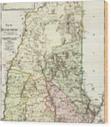 Vintage Map Of New Hampshire - 1796 Wood Print