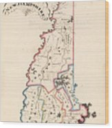 Vintage Map Of New Hampshire - 1819 Wood Print