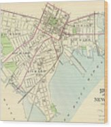Vintage Map Of New Haven Connecticut - 1893 Wood Print