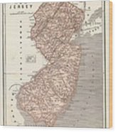 Vintage Map Of New Jersey - 1845 Wood Print