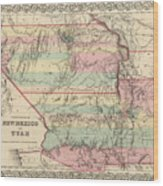 Vintage Map Of New Mexico And Utah - 1857 Wood Print