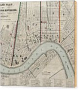 Vintage Map Of New Orleans Louisiana - 1845 Wood Print