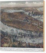 Vintage Map Of New York And Brooklyn Circa 1875 Wood Print
