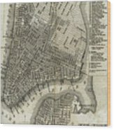 Vintage Map Of New York City - 1842 Wood Print