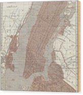 Vintage Map Of New York City - 1845 Wood Print